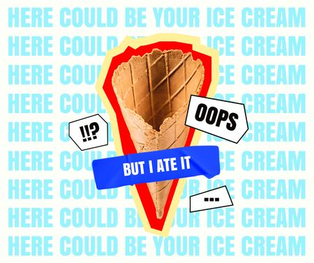 Template di design Funny illustration of Waffle Cone without Ice Cream Facebook