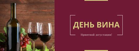 Wine Day Announcement with Wineglasses Facebook cover – шаблон для дизайна