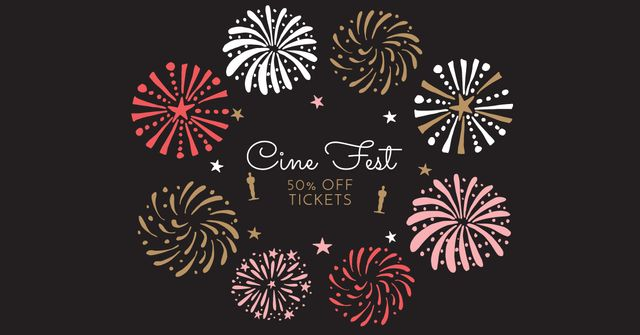Cine Fest Announcement with Fireworks Facebook AD Design Template
