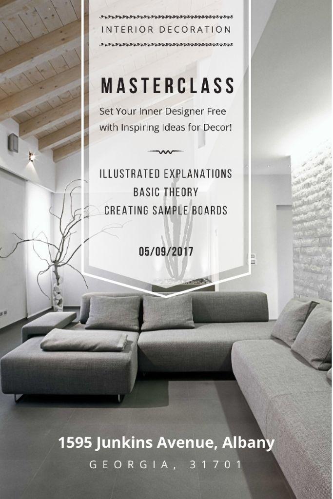 Interior Decoration Event Announcement Sofa in Grey Tumblr – шаблон для дизайна