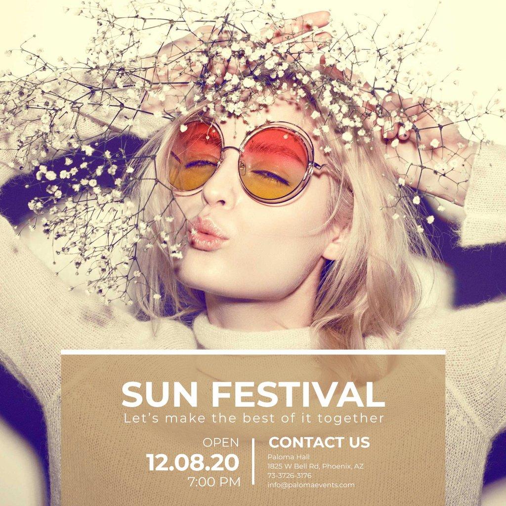 Sun festival advertisement with happy Girl Instagram ADデザインテンプレート