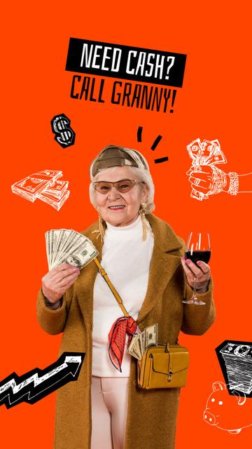 Funny Granny holding Dollars and Wine Instagram Story – шаблон для дизайна