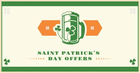 Ontwerpsjabloon van Facebook AD van St. Patrick's Day Offer with Beer illustration