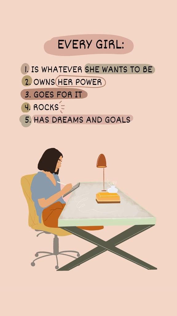 Plantilla de diseño de Girl Power Inspiration with Woman on Workplace Instagram Story