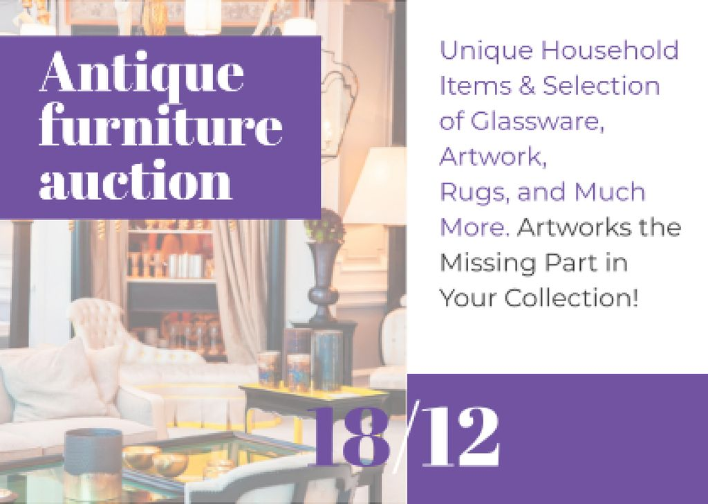 Antique Furniture Auction Cardデザインテンプレート