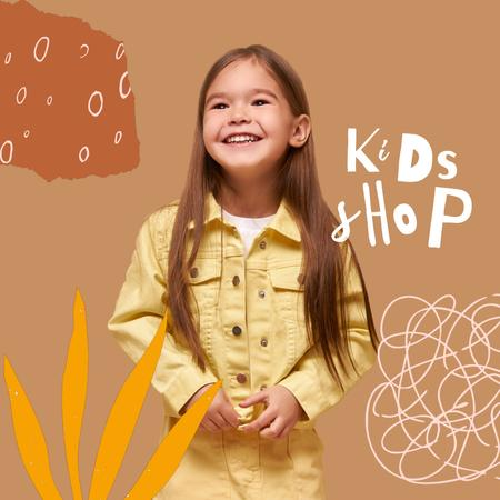 Template di design Kids Shop Ad with Cute Little Girl Animated Post