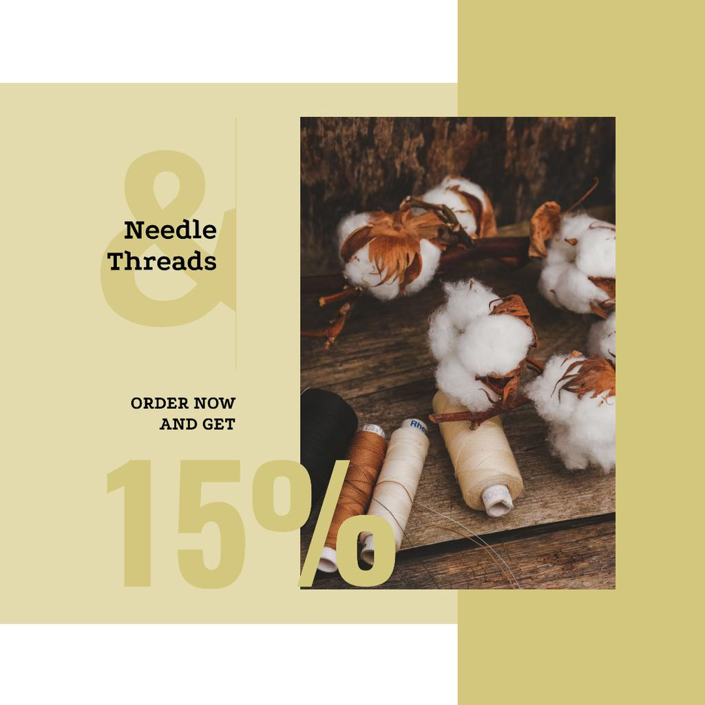 Cotton plant and Thread bobbins offer — Modelo de projeto