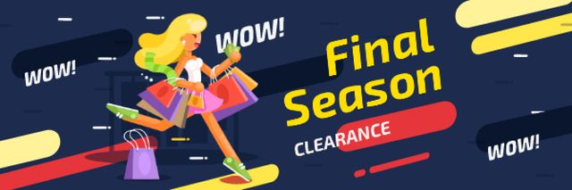 Season Clearance Ad Woman with Shopping Bags Email header – шаблон для дизайну