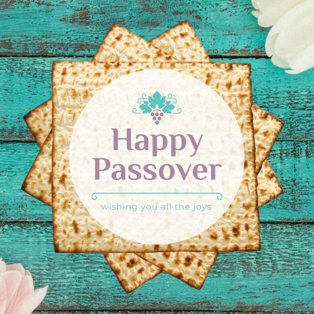 Modèle de visuel Happy Passover Table with Unleavened Bread - Animated Post