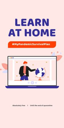 Modèle de visuel #MyPandemicSurvivalPlan Man studying Globe on screen - Graphic