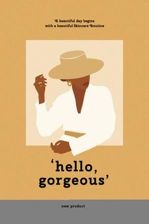 Beauty Inspiration with Woman in Stylish Hat Pinterest – шаблон для дизайна