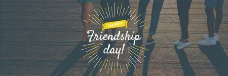 Friendship Day Greeting Young People Together Twitter Design Template