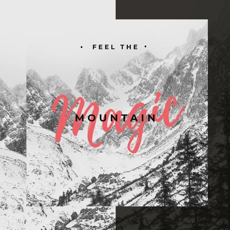Plantilla de diseño de Scenic landscape with snowy mountains Instagram
