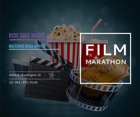 Plantilla de diseño de Film Marathon Night with popcorn Facebook