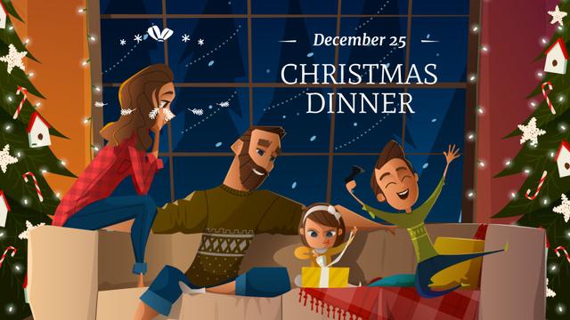 Happy Family on Festive Christmas Dinner FB event cover – шаблон для дизайна