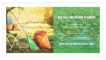 Modèle de visuel Volunteer Cleanup with Pumpkins in Autumn Garden - FB event cover
