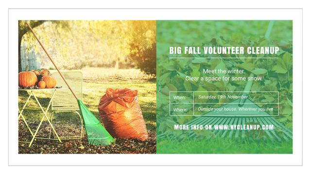 Ontwerpsjabloon van FB event cover van Volunteer Cleanup with Pumpkins in Autumn Garden