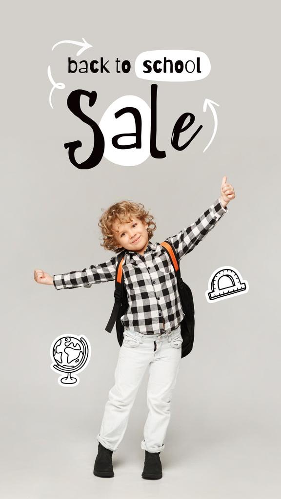Ontwerpsjabloon van Instagram Story van Back to School Sale Offer with Cute Pupil Boy