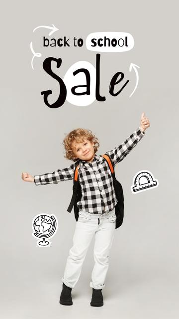 Back to School Sale Offer with Cute Pupil Boy Instagram Story Design Template