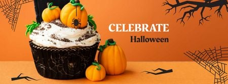 Halloween Celebration with Pumpkin Cake Facebook cover Modelo de Design