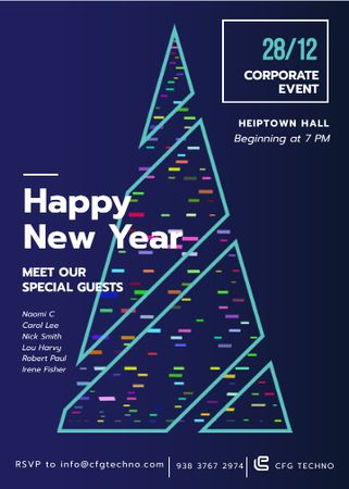 Stylized Christmas tree for corporate New Year Invitation Design Template
