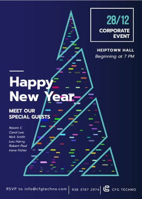 Template di design Stylized Christmas tree for corporate New Year Invitation