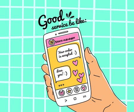 Ontwerpsjabloon van Facebook van Cute Illustration of Online Chatting