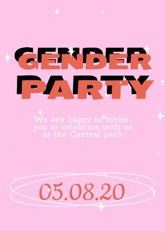 Plantilla de diseño de Gender Party Bright Announcement Invitation