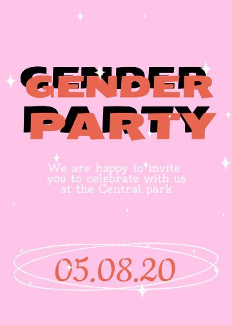 Gender Party Bright Announcement Invitationデザインテンプレート