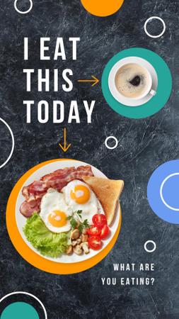Ontwerpsjabloon van Instagram Story van Breakfast with Fried Eggs and Coffee