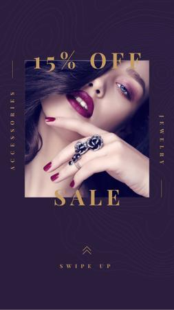 Discount Sale Offer with Girl in Beautiful Ring Instagram Story Modelo de Design