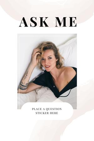 Question Form with Attractive Woman in white Pinterestデザインテンプレート