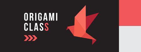 Ontwerpsjabloon van Facebook cover van Origami Learning Offer with Paper Bird