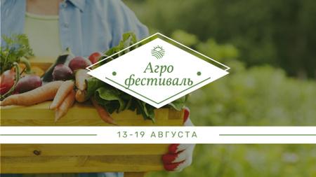 Farmer harvesting Vegetables for Agricultural Festival FB event cover – шаблон для дизайна