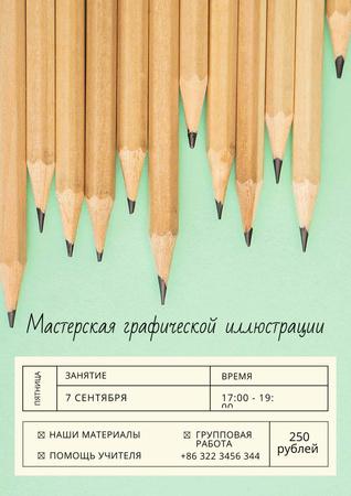Illustration Workshop with Graphite Pencils on Blue Poster – шаблон для дизайна