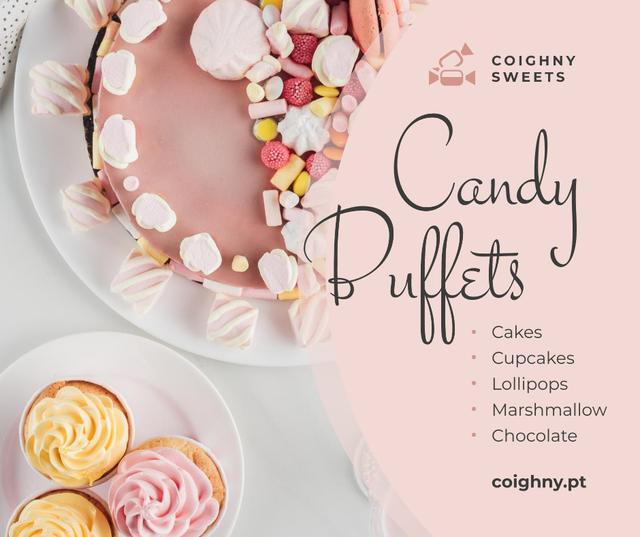 Bakery Promotion Sweet Pink Cake Facebook Tasarım Şablonu