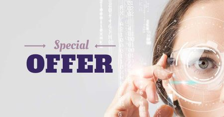 Ontwerpsjabloon van Facebook AD van Special Offer with Woman in Smart Glasses