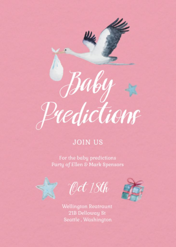Baby Shower Announcement with Stork carrying Baby Invitationデザインテンプレート