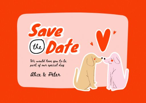 Wedding Announcement With Cute Dogs Kissing