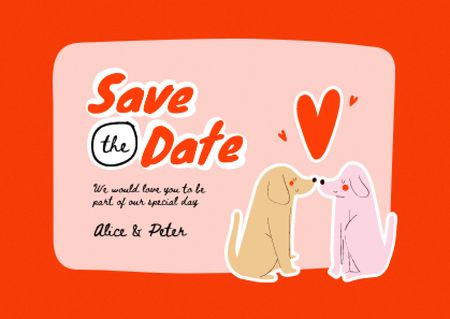 Wedding Announcement with Cute Dogs kissing Cardデザインテンプレート