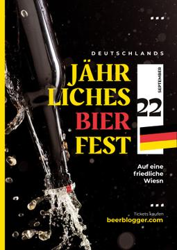Beer Fest Invitation with Bottle with Splashing Alcohol