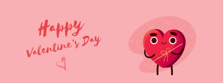 Heart-shaped Gift box for Valentine's Day Facebook Video cover Design Template