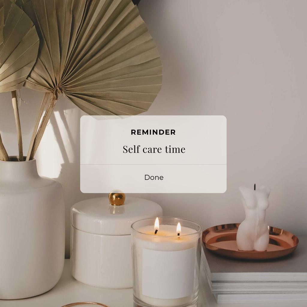 Self Care time Inspiration with Cozy Candles Instagram Modelo de Design