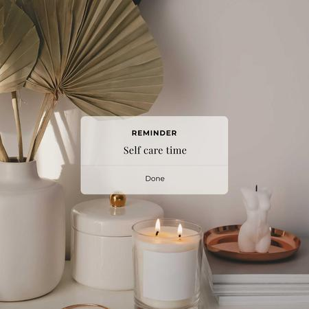 Ontwerpsjabloon van Instagram van Self Care time Inspiration with Cozy Candles