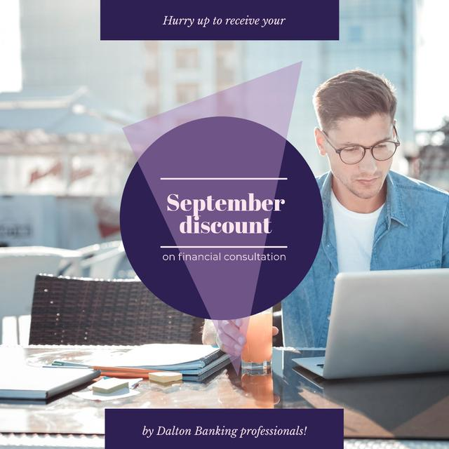 Plantilla de diseño de Banking Services Ad Businessman working by Laptop Instagram AD