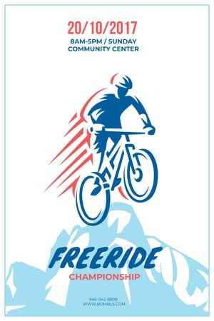 Plantilla de diseño de Freeride Championship Announcement Cyclist in Mountains Tumblr