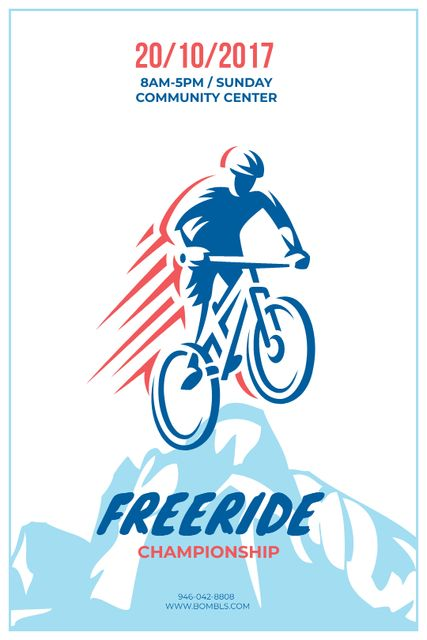 Freeride Championship Announcement Cyclist in Mountains Tumblr Design Template