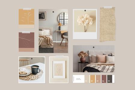 Cozy interior in natural colors Mood Board Modelo de Design