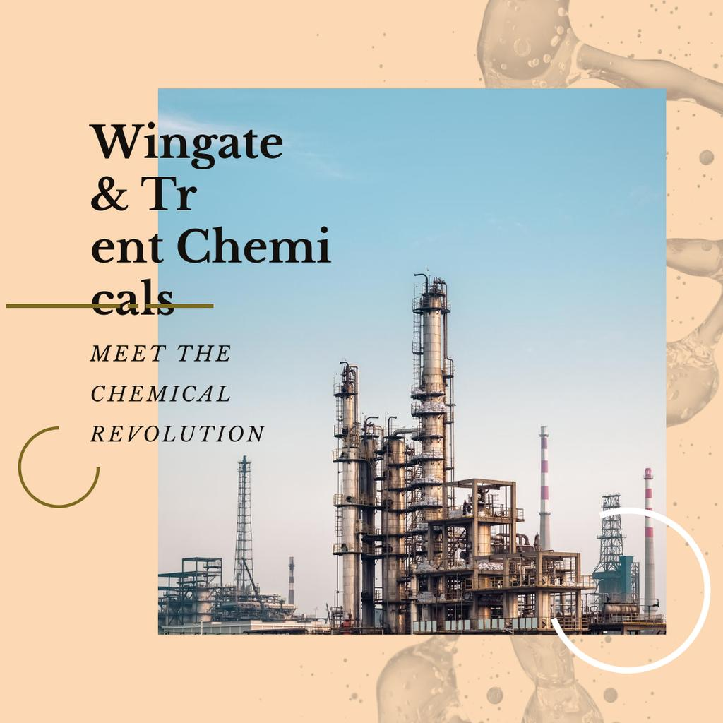 Industrial Plant with Chimneys Instagram AD Design Template