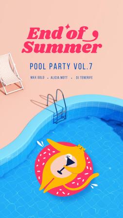 Platilla de diseño Summer Party Announcement with Cat in Pool Instagram Story